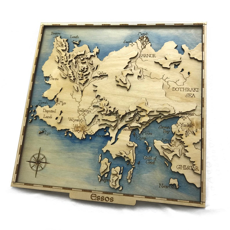 Game of Thrones  Inspired Lasercut Wooden Topographic Map image 0