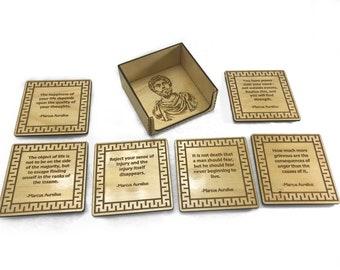 Marcus Aurelius Stoic Philosophy Drink Coasters