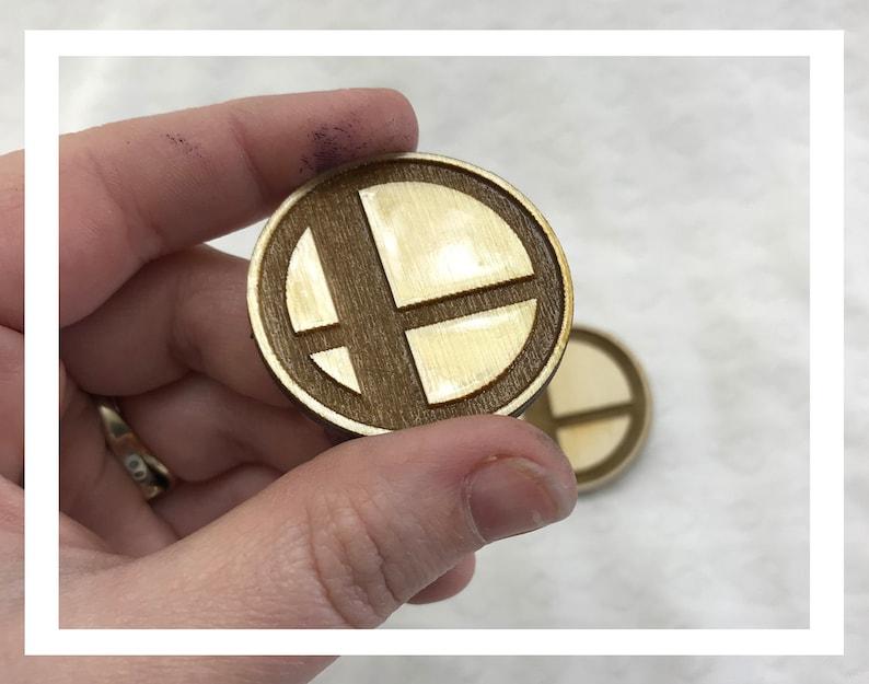Laser engraved Smash Bros pin pushback pins wood etched retro image 0