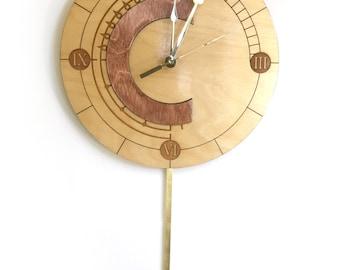Wooden Chrono Trigger clock with swinging pendulum
