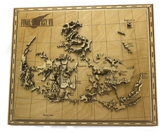 Final Fantasy VII Laser Cut Topographic Map