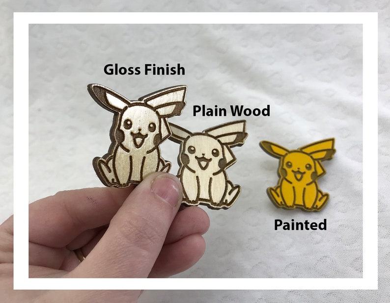 Laser engraved Pikachu pins pushback pins wood etched retro image 0