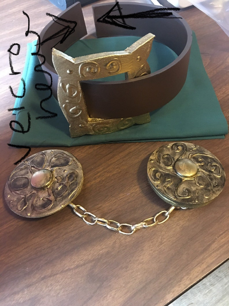 Dr Doom inspired Child sized belt  and Gold clasp with chain *only*