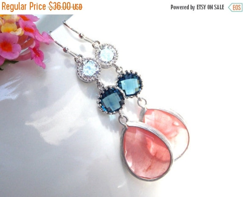 Long Earrings Wedding Jewelry,Coral Navy Blue Clear Earrings Brides Gifts,Bridesmaids Gifts,Bridesmaids Jewelry Bridesmaids Gifts Dangle