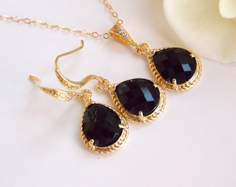 Bridesmaid Jewelry, Black Earrings and Necklace Set, Jet Black, Onix, Gold Filled, Cubic Zirconia, Wedding Gifts, Wedding Jewelry,Dangle,Set