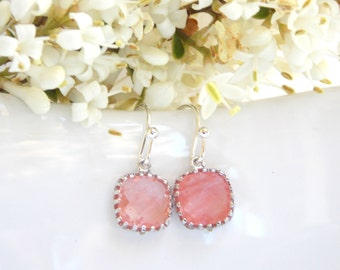 Wedding Jewelry, Coral Earrings, Grapefruit,Peach,Silver,Bridesmaid Jewelry,Petit Earrings, Dangle, Bridesmaids Gifts, Wedding Gifts, Dainty