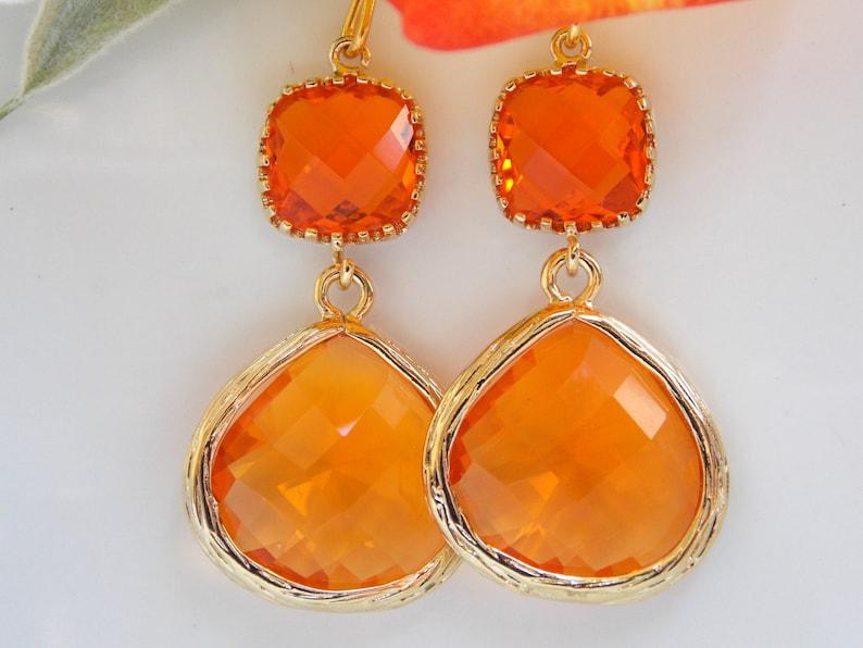 6e8f84696c0e Joyería de la boda aretes naranja cornalina mandarina