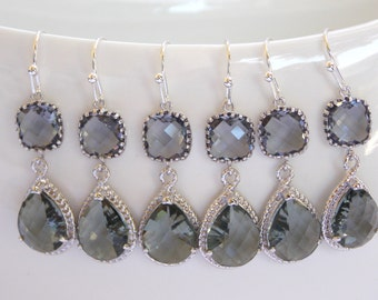 Bridesmaids Jewelry,Wedding Jewelry, Grey Earrings, Gray, Charcoal, Silver, Bridesmaids Gifts,Gray, Dangle, Bridesmaids Jewelry, Bride Gifts