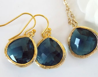 Wedding Jewelry Set, Navy Blue Earrings and Necklace, Dark Blue, Montana Blue, Blue, Gold Filled, Bridesmaid Jewelry, Pendant Set,Gifts Sets