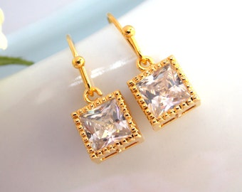 Wedding Jewelry, Gold Earrings, Cubic Zirconia, Clear, Bridesmaid Jewelry, Small Earrings, Dangle, Bridesmaids Gifts, Wedding Gifts, D