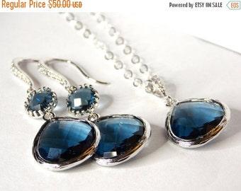 Wedding Jewelry Set, Navy Blue Earrings and Neklace, Sterling Silver,Montana Blue,Zirconia,Bridesmaid Earrings,Bridesmaid Gift,Pendant,