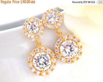 Wedding Jewelry, Gold, Cubic Zirconia, Bridal Jewelry, Bridal Earrings, Bride Earrings, Bridesmaid Earrings, Dangle, Bridesmaids Gift