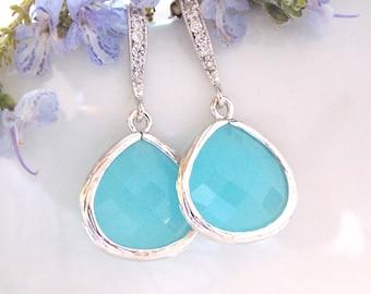 Wedding Jewelry, Ocean Blue Earrings, Silver,Turquoise, Bridesmaid Jewelry,Cubic Zirconia,Dangle,Bridesmaid Gifts,Bridal Gifts,Drop Earrings