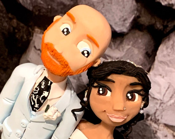 Personalised Wedding Cake Topper - figurines bride and groom/Same Sex Couple Hugging/Going Travelling