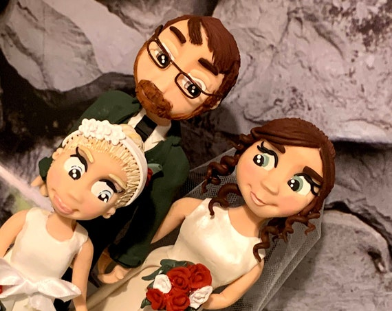 Personalised Wedding Cake topper - Family Group/ Family Portrait - Polymer Clay