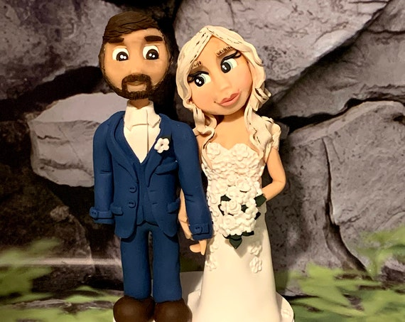 Personalised Wedding Cake Topper - figurines bride and groom/Same Sex Couple Traditional Wedding couple