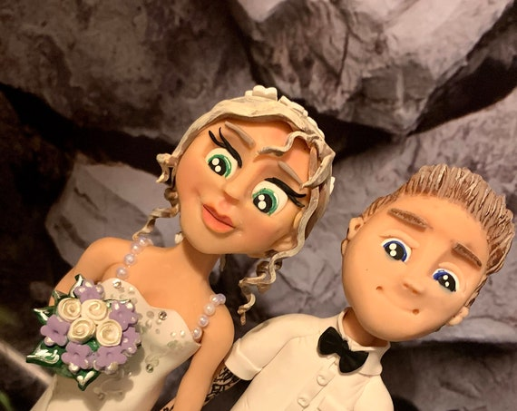 Personalised Wedding Cake Topper - figurines bride and groom/Same Sex Couple with tattoos/Piercings
