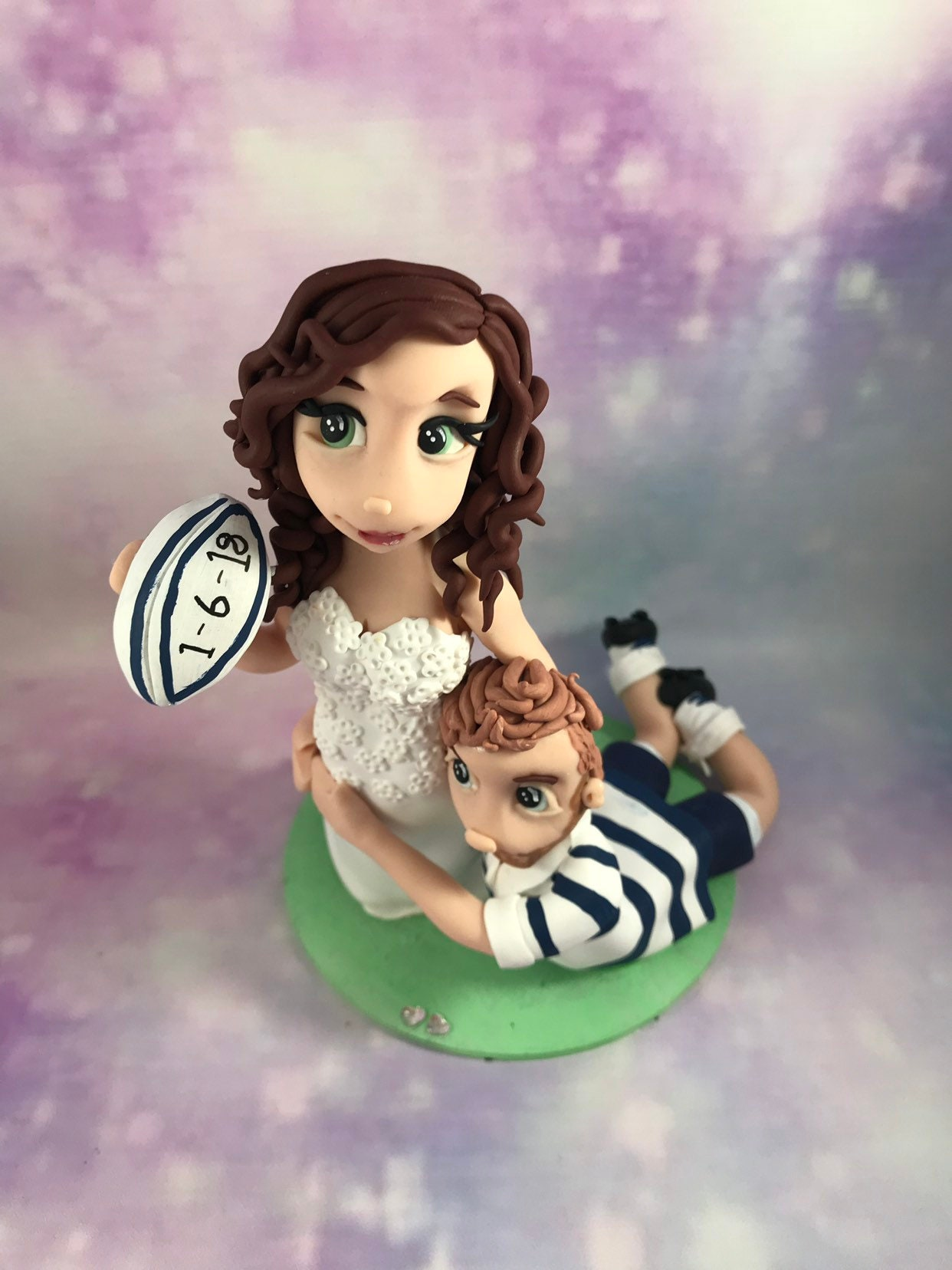 rugby themed wedding cake toppers personalised wedding cake topper and groom figures 19467