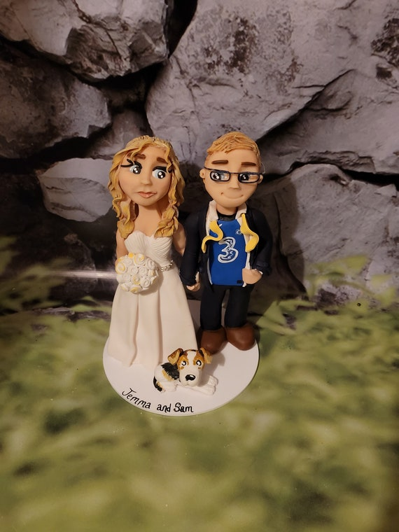 Personalised Football Wedding Cake Topper - hand sculpted bride and groom/same sex couple - Any team colours.