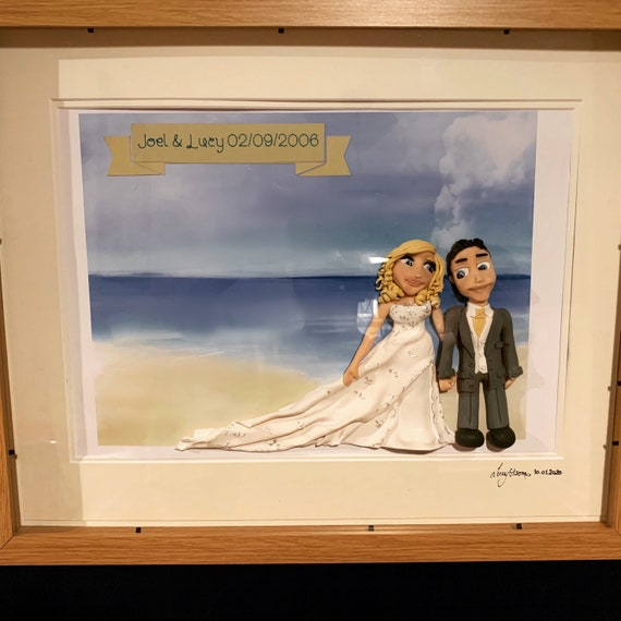 Personalised Wedding portrait - polymer clay and digital art background - Medium 30cm x 30cm