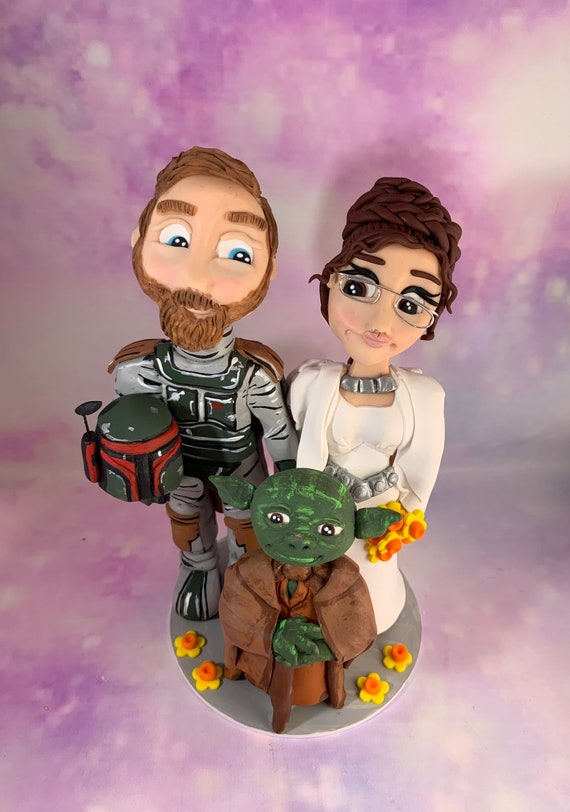 Star Wars wedding Cake Topper - Boba Fett / Princess Leia Bride and Groom/Same sex Wedding - detailed/ any character