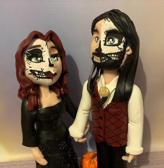 Personalised Wedding Cake Topper - Bride and Groom  Figurines - Polymer clay - Halloween/rock roll/skeleton - same sex wedding available