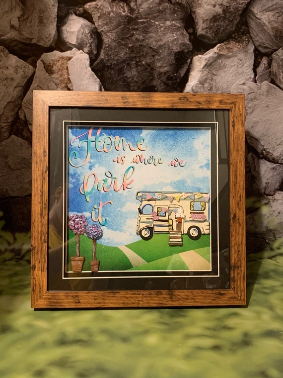Christmas gift motorhome/Rv/camping - framed campervan, Home is where we park it. Mixed media art - polymer clay and digital background.