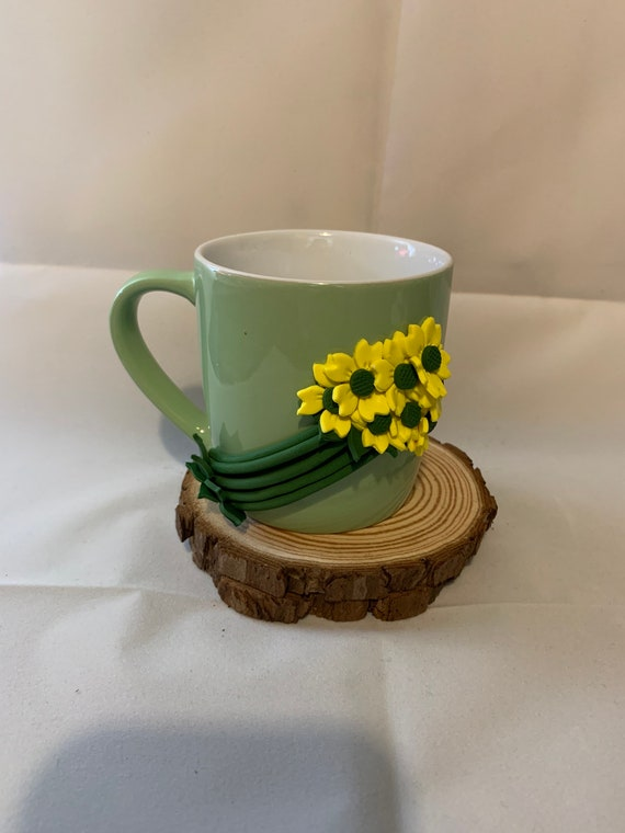 Floral mug - polymer clay flowers on a mug - Birthday Gift/cheer up gift