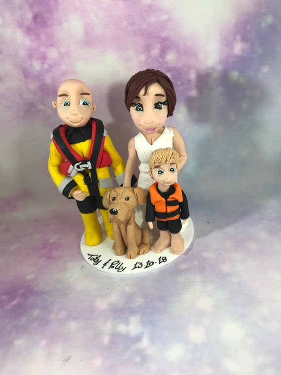 Personalised Wedding Cake Topper - coastguard bride and groom/same sex
