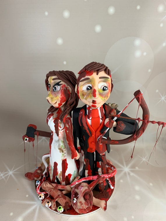 Personalised wedding cake topper - bride and groom/same sex wedding Zombie Hunter/walking dead/ the undead