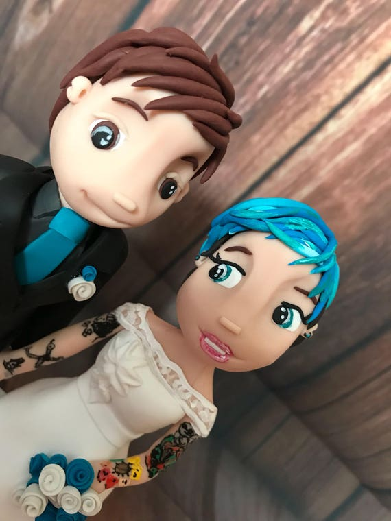 Personalised Wedding Cake Topper - Funky Hair/Tattoos