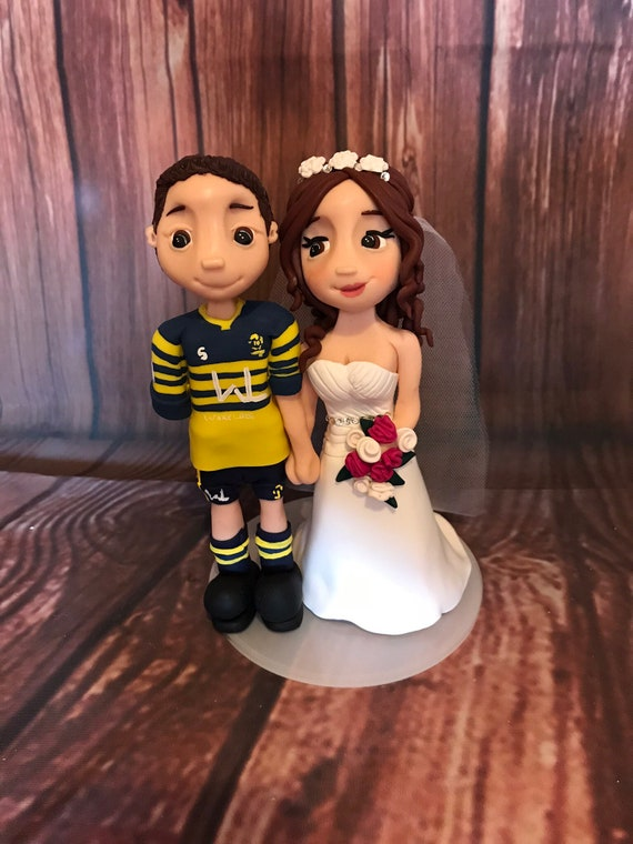 personalised Wedding Cake Topper bride and groom figures in Rugby Kit - Rugby Theme