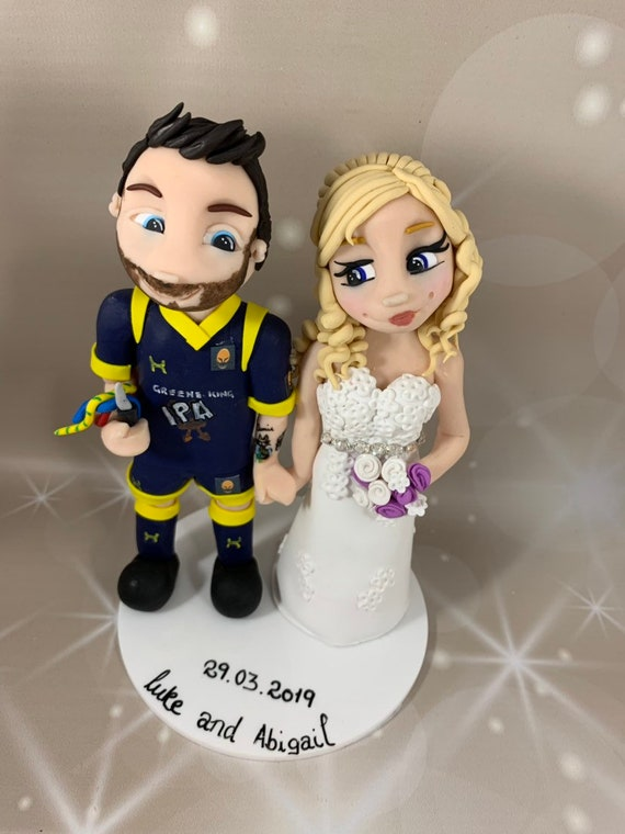 Wedding Cake Topper- Bride and Groom/rugby