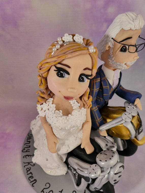 Personalised Wedding Cake Topper - bride & groom/same sex with motorbikes