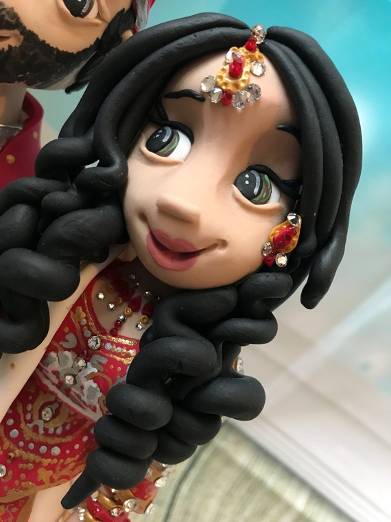 Personalised - Asian/Indian Wedding Cake Topper - Keepsake - bride and groom figures less bling