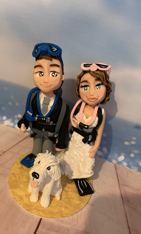 Personalised diving Wedding Cake Topper Bride and Groom/same sex couple - cute diving/scuba diving
