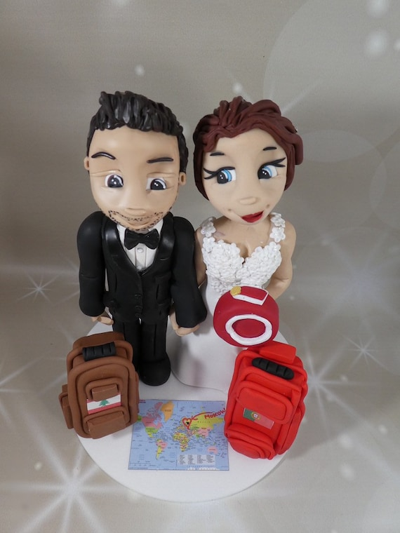 Personalised Wedding Cake Topper travel theme - bride and groom/same sex couple