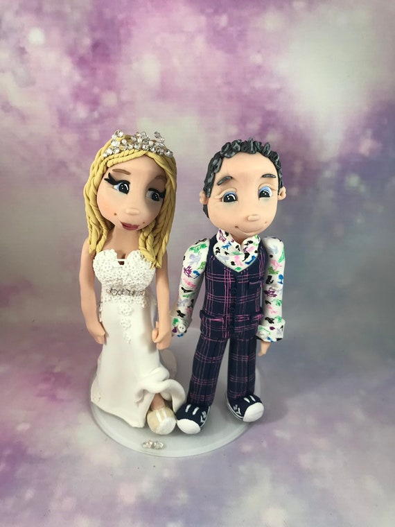Personalised Wedding Cake Topper - funky bride and groom/same sex couple