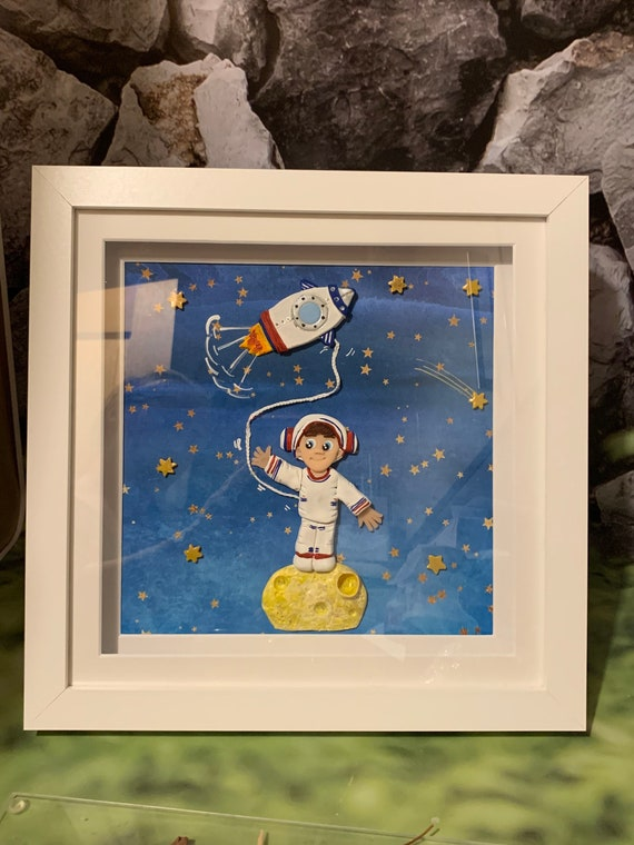 Framed Bedroom/Nursery mixed media Wall art - Space theme - Fully personalised