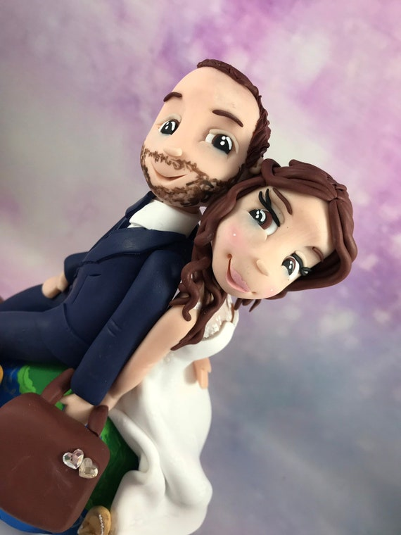 clay wedding cake topper - Travel
