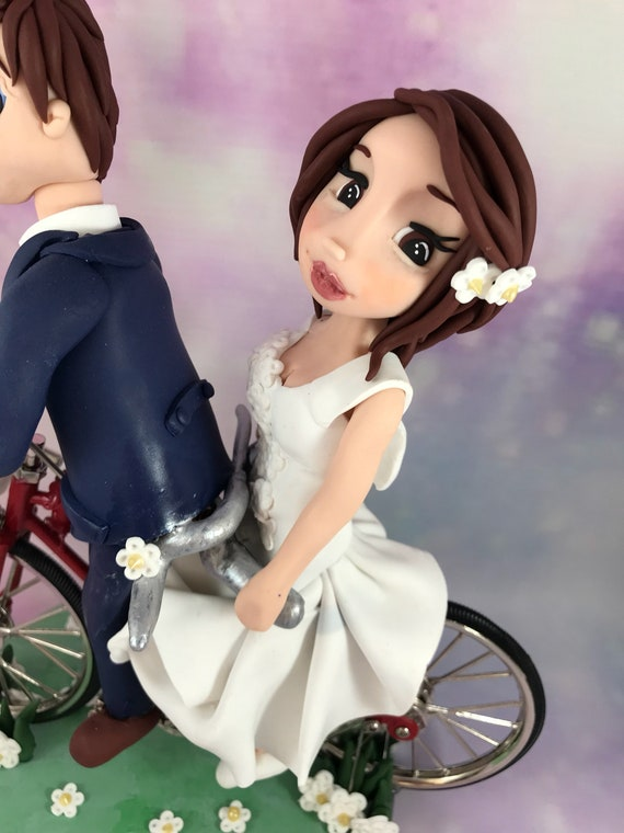Fully personalised clay Wedding/anniversary Cake Topper cycling/bike/tandem - highly detailed and fully sculpted Keepsake