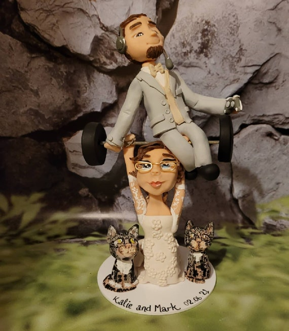 Personalised  weight lifting/crossfit Wedding Cake Topper - bride and groom/same sex couple