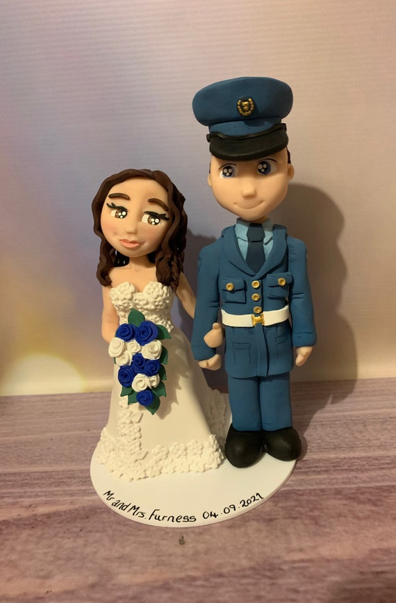 Personalised Wedding Cake Topper Bride and Groom - military/forces