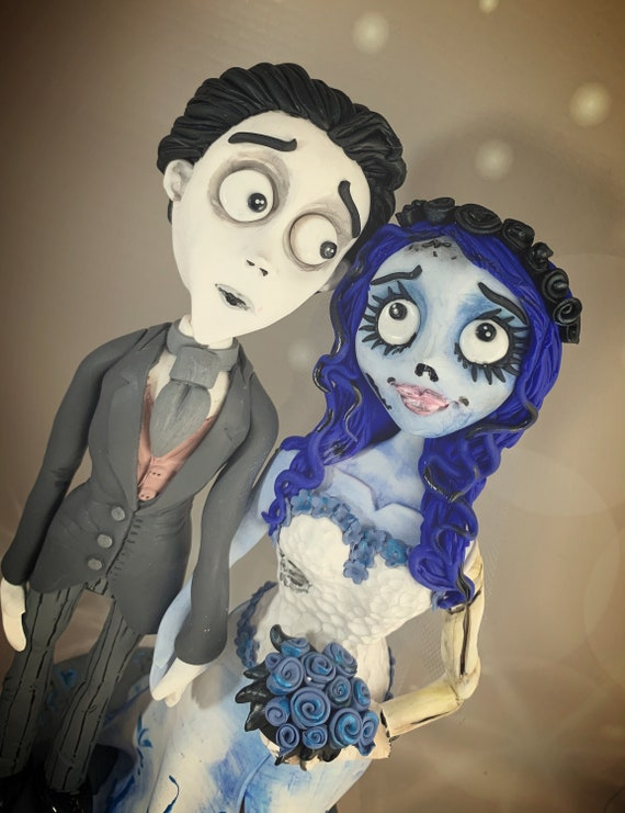 Corpse bride Wedding Cake Topper - bride and groom - victor and Emily / same sex wedding.