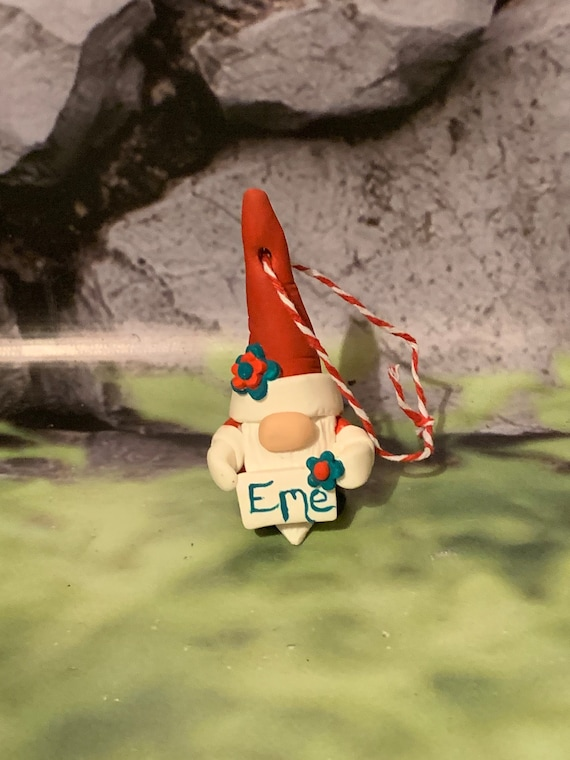 Personalised Christmas tree Gonk - gnome Christmas tree decoration. Polymer clay.