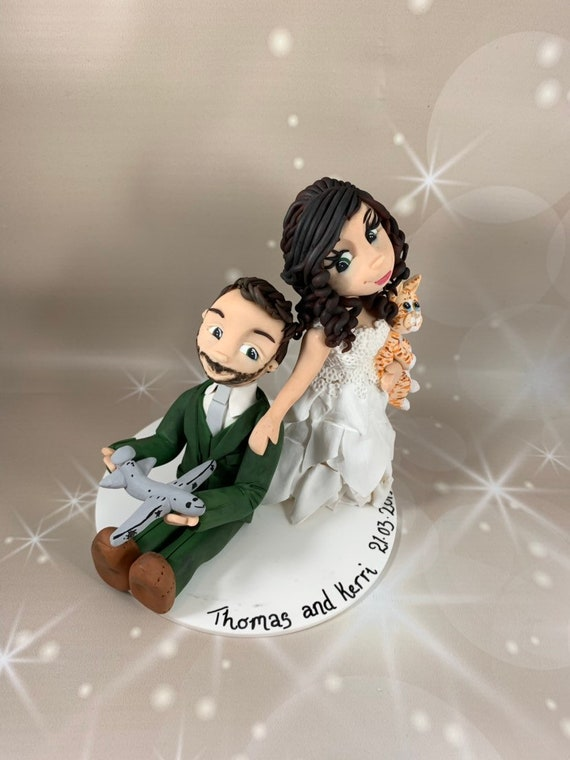 Wedding Cake Topper- Bride dragging groom
