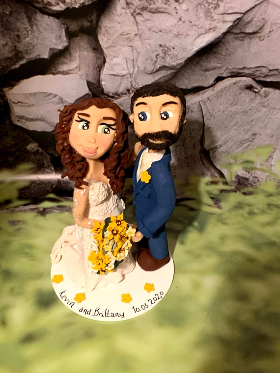 Personalised Wedding Cake Topper - figurines bride and groom/Same Sex Couple Hugging/Standing Close to each other