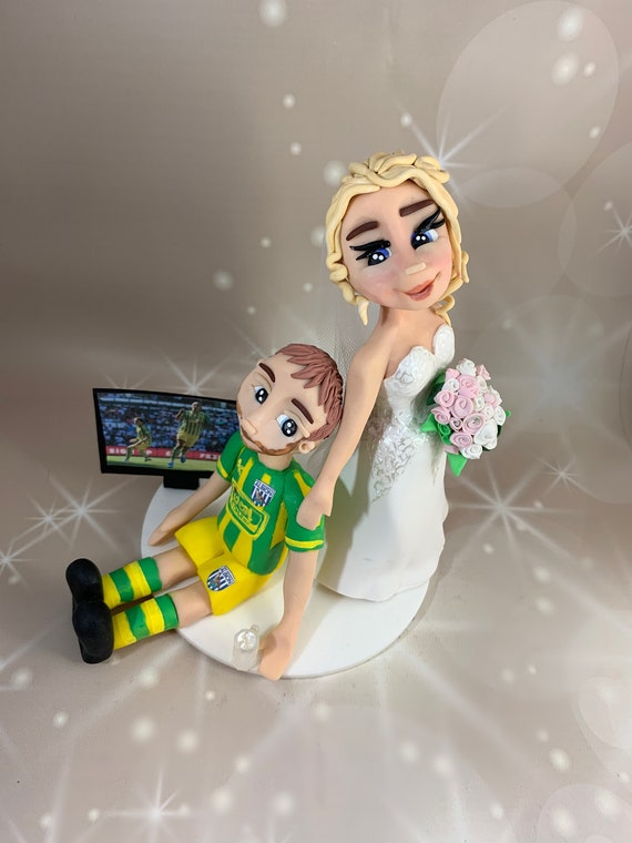 Bride Dragging Groom away from football - same sex - wedding Gift.