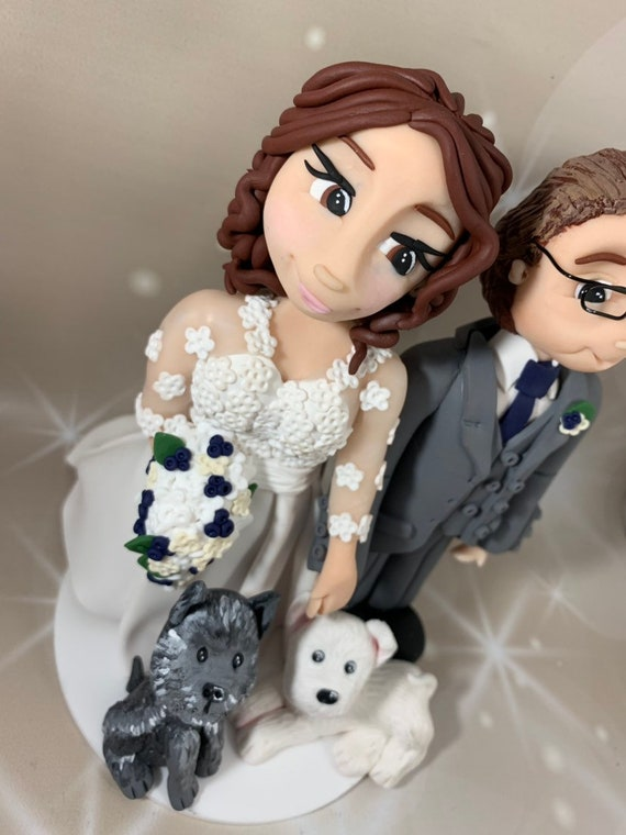 Bride and groom cake topper - personalised wedding cake topper with pets dogs/cats