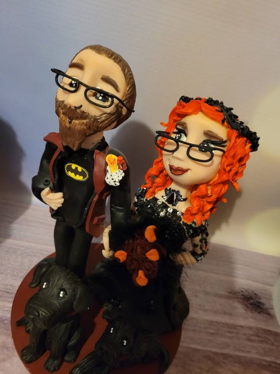 Personalised Wedding Cake Topper - figurines bride and groom/Same Sex Couple - gothic, black dress, Halloween wedding